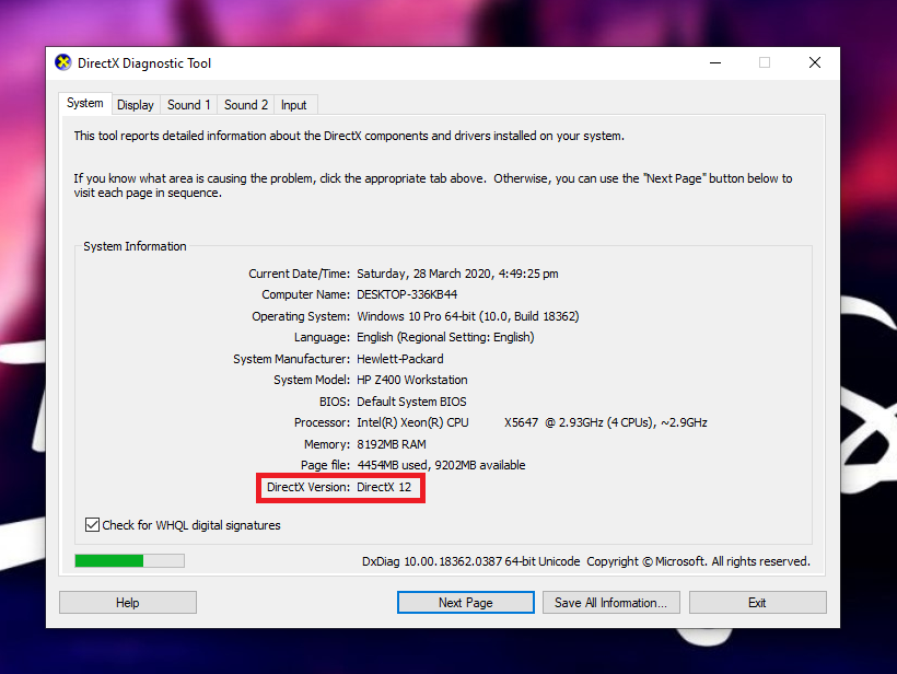 Install the Latest Version of Directx