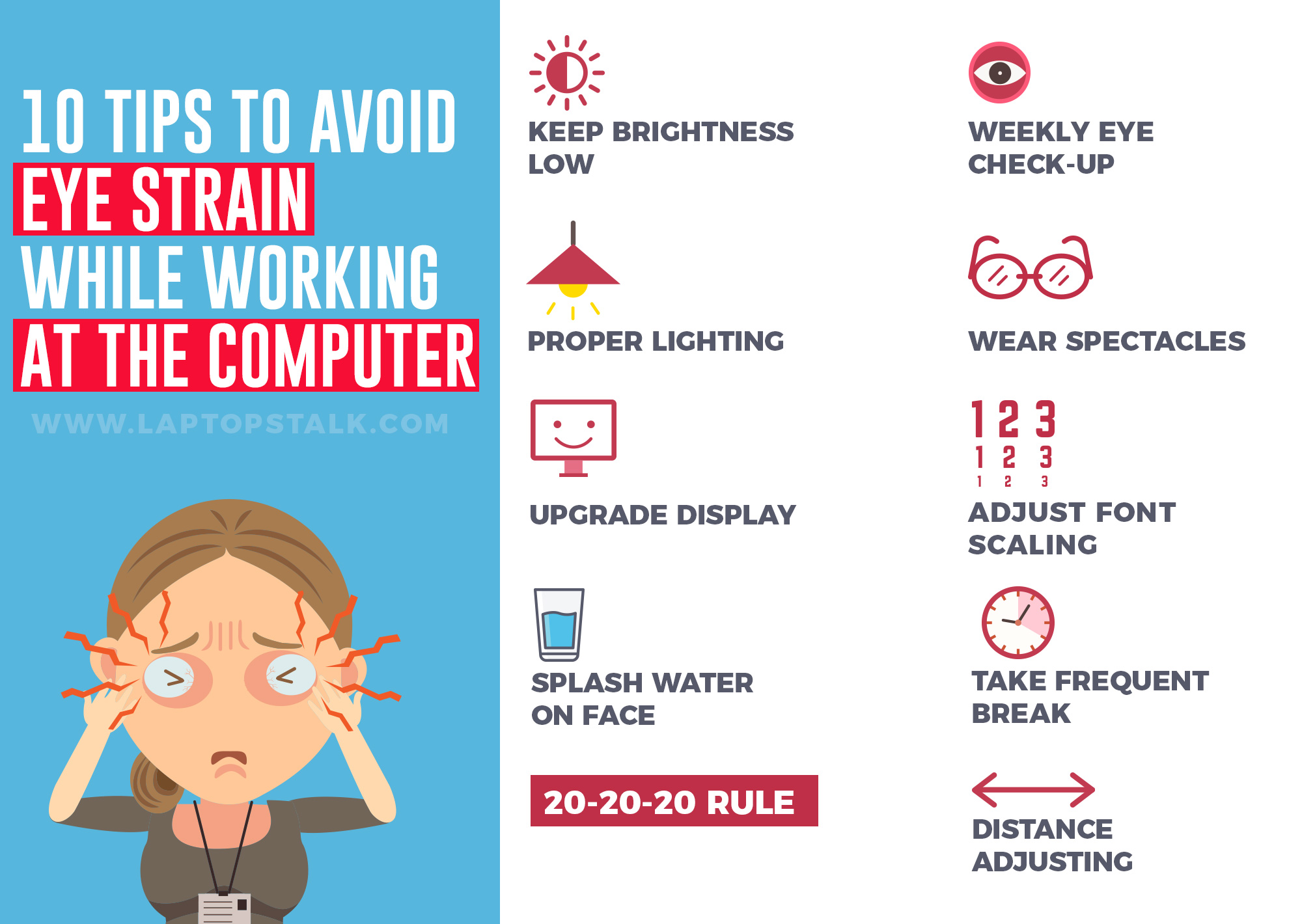 10 Tips to prevent your eye-sight from being damaged when using a laptop